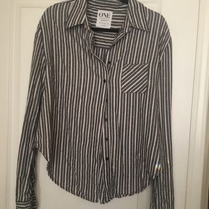 One Teaspoon Button Down Stripe Gray White Shirt M